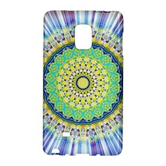 Power Mandala Sun Blue Green Yellow Lilac Samsung Galaxy Note Edge Hardshell Case by EDDArt