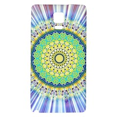Power Mandala Sun Blue Green Yellow Lilac Samsung Note 4 Hardshell Back Case by EDDArt