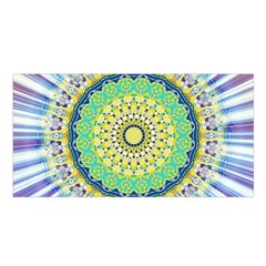Power Mandala Sun Blue Green Yellow Lilac Satin Shawl by EDDArt