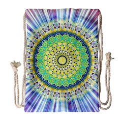 Power Mandala Sun Blue Green Yellow Lilac Drawstring Bag (large) by EDDArt