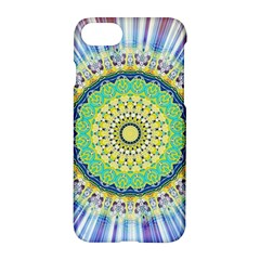 Power Mandala Sun Blue Green Yellow Lilac Apple Iphone 7 Hardshell Case by EDDArt