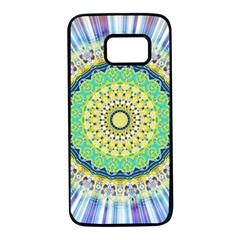 Power Mandala Sun Blue Green Yellow Lilac Samsung Galaxy S7 Black Seamless Case by EDDArt
