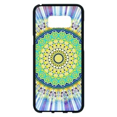 Power Mandala Sun Blue Green Yellow Lilac Samsung Galaxy S8 Plus Black Seamless Case by EDDArt