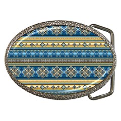 Vintage Border Wallpaper Pattern Blue Gold Belt Buckles by EDDArt