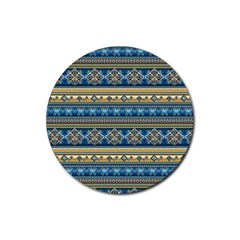 Vintage Border Wallpaper Pattern Blue Gold Rubber Round Coaster (4 Pack)  by EDDArt