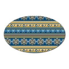 Vintage Border Wallpaper Pattern Blue Gold Oval Magnet by EDDArt