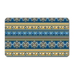 Vintage Border Wallpaper Pattern Blue Gold Magnet (rectangular) by EDDArt