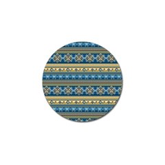 Vintage Border Wallpaper Pattern Blue Gold Golf Ball Marker (4 Pack) by EDDArt