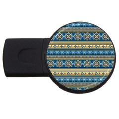 Vintage Border Wallpaper Pattern Blue Gold Usb Flash Drive Round (2 Gb) by EDDArt