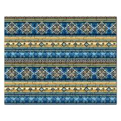 Vintage Border Wallpaper Pattern Blue Gold Rectangular Jigsaw Puzzl by EDDArt
