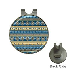 Vintage Border Wallpaper Pattern Blue Gold Hat Clips With Golf Markers by EDDArt