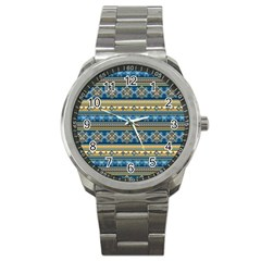 Vintage Border Wallpaper Pattern Blue Gold Sport Metal Watch by EDDArt