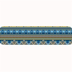 Vintage Border Wallpaper Pattern Blue Gold Large Bar Mats by EDDArt