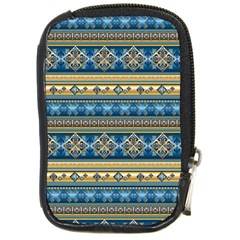 Vintage Border Wallpaper Pattern Blue Gold Compact Camera Cases by EDDArt