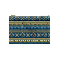 Vintage Border Wallpaper Pattern Blue Gold Cosmetic Bag (medium) by EDDArt
