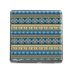 Vintage Border Wallpaper Pattern Blue Gold Memory Card Reader (square 5 Slot) by EDDArt