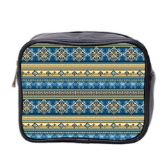 Vintage Border Wallpaper Pattern Blue Gold Mini Toiletries Bag 2 Side by EDDArt