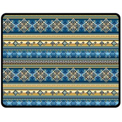 Vintage Border Wallpaper Pattern Blue Gold Fleece Blanket (medium)  by EDDArt