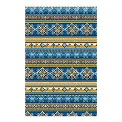 Vintage Border Wallpaper Pattern Blue Gold Shower Curtain 48  X 72  (small)  by EDDArt