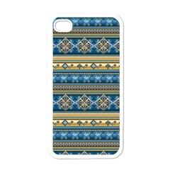 Vintage Border Wallpaper Pattern Blue Gold Apple Iphone 4 Case (white) by EDDArt