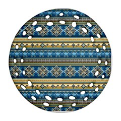 Vintage Border Wallpaper Pattern Blue Gold Round Filigree Ornament (two Sides) by EDDArt