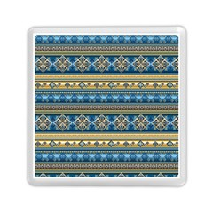 Vintage Border Wallpaper Pattern Blue Gold Memory Card Reader (square) by EDDArt