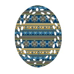 Vintage Border Wallpaper Pattern Blue Gold Oval Filigree Ornament (two Sides) by EDDArt