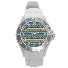 Vintage Border Wallpaper Pattern Blue Gold Round Plastic Sport Watch (l) by EDDArt