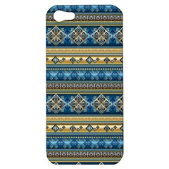 Vintage Border Wallpaper Pattern Blue Gold Apple Iphone 5 Hardshell Case by EDDArt