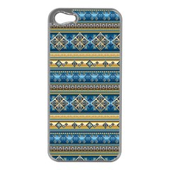 Vintage Border Wallpaper Pattern Blue Gold Apple Iphone 5 Case (silver) by EDDArt
