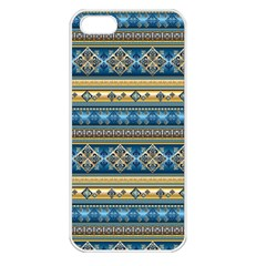 Vintage Border Wallpaper Pattern Blue Gold Apple Iphone 5 Seamless Case (white) by EDDArt