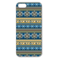 Vintage Border Wallpaper Pattern Blue Gold Apple Seamless Iphone 5 Case (clear) by EDDArt