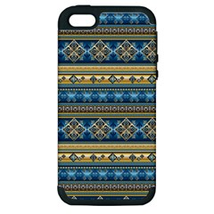Vintage Border Wallpaper Pattern Blue Gold Apple Iphone 5 Hardshell Case (pc+silicone) by EDDArt