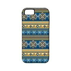 Vintage Border Wallpaper Pattern Blue Gold Apple Iphone 5 Classic Hardshell Case (pc+silicone) by EDDArt
