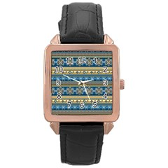 Vintage Border Wallpaper Pattern Blue Gold Rose Gold Leather Watch  by EDDArt