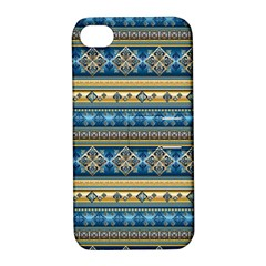 Vintage Border Wallpaper Pattern Blue Gold Apple Iphone 4/4s Hardshell Case With Stand by EDDArt