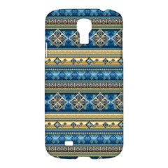 Vintage Border Wallpaper Pattern Blue Gold Samsung Galaxy S4 I9500/i9505 Hardshell Case by EDDArt