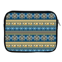 Vintage Border Wallpaper Pattern Blue Gold Apple Ipad 2/3/4 Zipper Cases by EDDArt