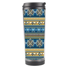 Vintage Border Wallpaper Pattern Blue Gold Travel Tumbler by EDDArt