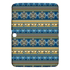 Vintage Border Wallpaper Pattern Blue Gold Samsung Galaxy Tab 3 (10 1 ) P5200 Hardshell Case  by EDDArt