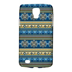 Vintage Border Wallpaper Pattern Blue Gold Samsung Galaxy S4 Active (i9295) Hardshell Case by EDDArt