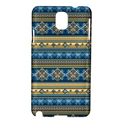 Vintage Border Wallpaper Pattern Blue Gold Samsung Galaxy Note 3 N9005 Hardshell Case by EDDArt