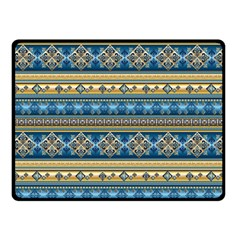 Vintage Border Wallpaper Pattern Blue Gold Double Sided Fleece Blanket (small)  by EDDArt