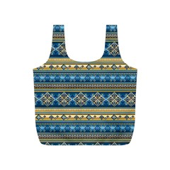 Vintage Border Wallpaper Pattern Blue Gold Full Print Recycle Bags (s)  by EDDArt