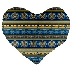 Vintage Border Wallpaper Pattern Blue Gold Large 19  Premium Flano Heart Shape Cushions by EDDArt