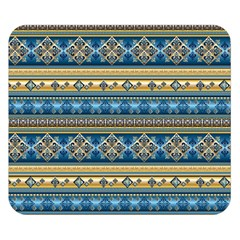 Vintage Border Wallpaper Pattern Blue Gold Double Sided Flano Blanket (small)  by EDDArt
