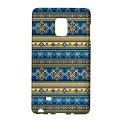 Vintage Border Wallpaper Pattern Blue Gold Samsung Galaxy Note Edge Hardshell Case by EDDArt