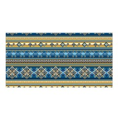 Vintage Border Wallpaper Pattern Blue Gold Satin Shawl by EDDArt