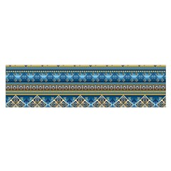 Vintage Border Wallpaper Pattern Blue Gold Satin Scarf (oblong) by EDDArt