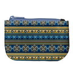 Vintage Border Wallpaper Pattern Blue Gold Large Coin Purse by EDDArt